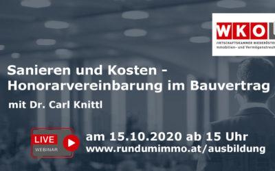 Live Webinar: Sanieren und Kosten – Honorarvereinbarung im Bauvertrag mit Dr. Knittl